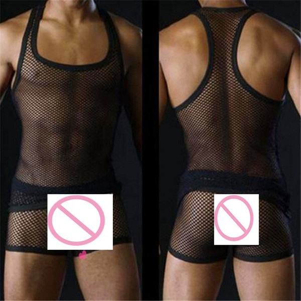 Wholesale- men's sexy tanks tops Male underwear Gay clothing mesh net Fashion man clothes Undershirts for men sleeveless vest fishnet