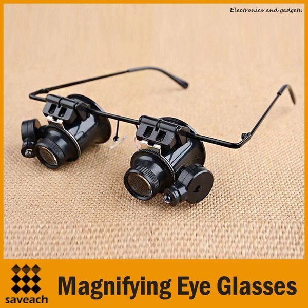 10PCS/LOT 20X Jeweler Watch Repair Magnifying eye Glasses Style Magnifier Loupe Lens With LED Light