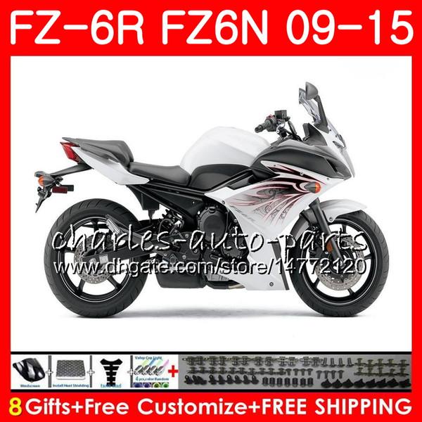 white black Body For YAMAHA FZ6N FZ-6N FZ6R 2009 2010 2011 2012 2013 2014 2015 82NO51 FZ-6R FZ6 R FZ 6N FZ 6R 09 10 11 12 13 14 15 Fairing