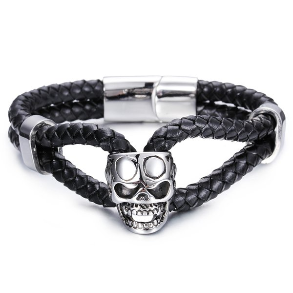 2016 Best Gothic New Skull Biker Stainless Steel Double Layer Genuine leather Men's Cool Gift Jewelry Bangle Bracelet 8.66''