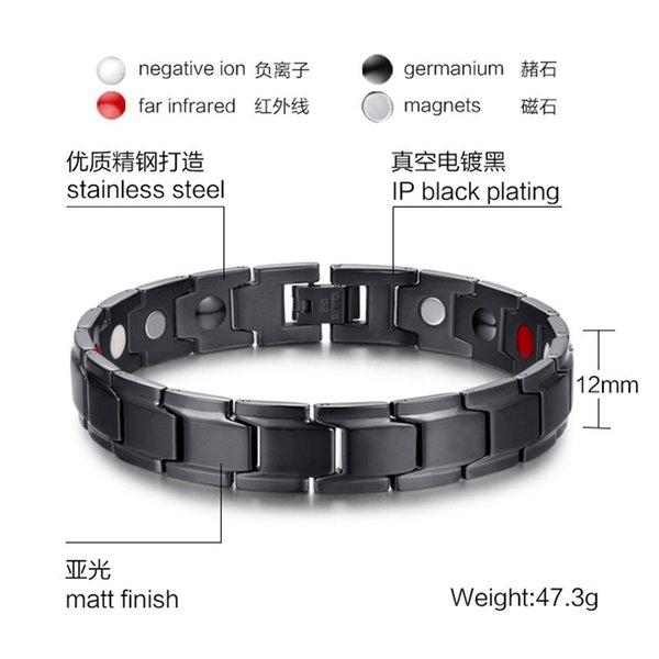 Beichong Fashion Health Energy Bracelet Bangle Men Black Jewelry Titanium Stainless Steel Bio Magnetic Bracelet For Man