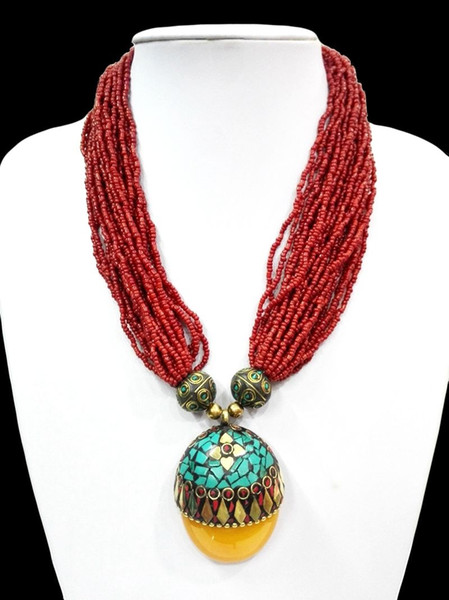 18'' Ethnic Red Bead Multilayer Necklace Pendant Tibetan Silver Flower Amber oyzz-0014