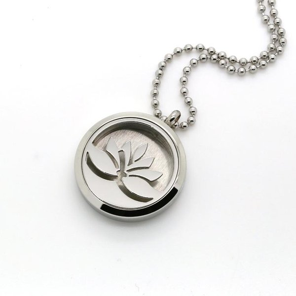 Factory Wholesale Hollow Cutting Round 316L Stainless Steel Perfume Diffuser Lotus Pattern Image Locket Pendant