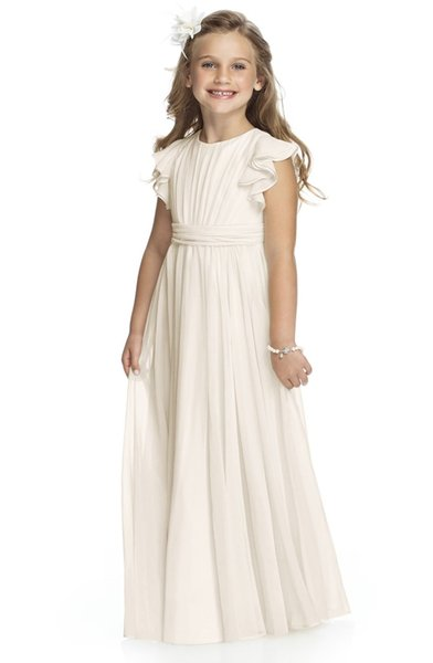 2016 Attractive Sleeveless Flower Girl Dresses Lovely Chiffon Girl Pageant Dresses Lace Jewel Wedding Accessories New Arrival