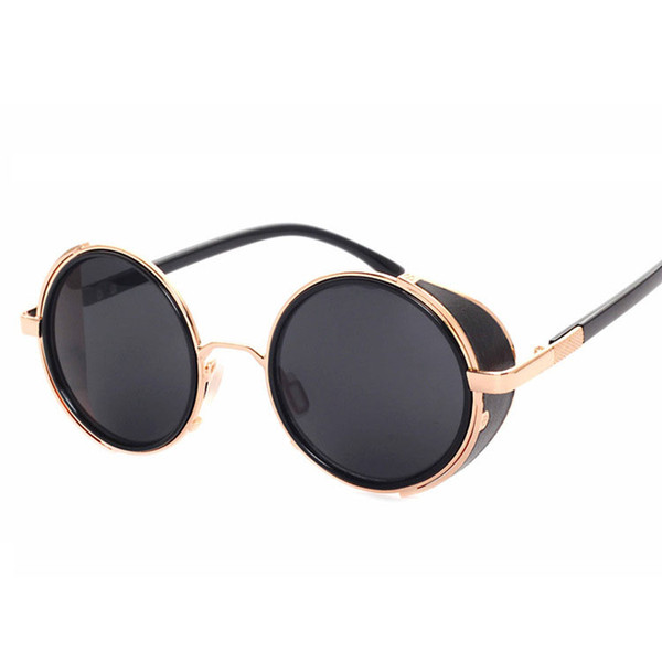 93881c993b Vintage Sunglasses Men Women Brand Gold Metal Flat Top Round Steampunk Sunglasses  Retro Windproof Mirror Glasses