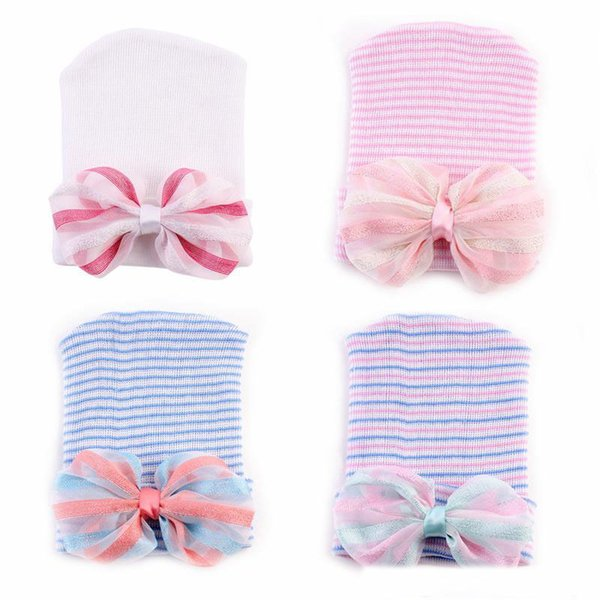 """0-6M Newest Newborn Baby Crochet Hats with Big Bow Cute Baby Girl Lace Chiffon Knitting Stripe Hedging Caps Cotton 4"""" Bow Beanie"""