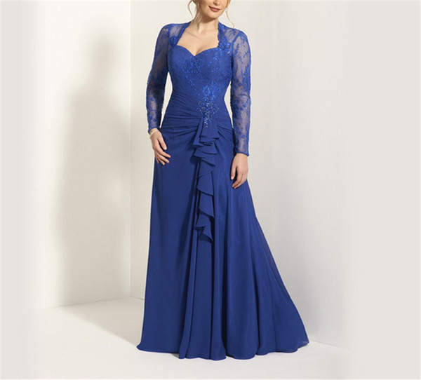 top popular Sweetheat Long Sleeves Applique Royal Blue Chiffon Mother of the Bride Dress Ruffles Front Keyhole Back A-line Maid Dresses 2019