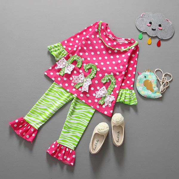 Enfants Toddler Tenue de Noël fille polka dot t-shirt + pantalon à volants rayés 2pcs ensembles belle enfant printemps automne usure costume boutique vêtements
