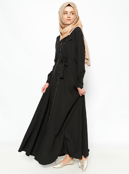 2017 new style Middle East woman black vintage long dress Muslim cardigan long sleeve lapel fully button big size Muslem female dresses belt