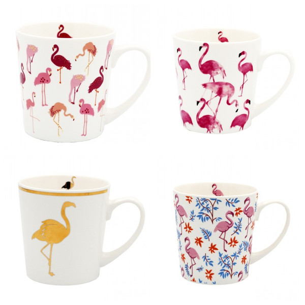 Cartoon Flamingo Pattern Mugs Heat Resistant Round Ceramic Cup For Office Worker Milk Tea Tumbler Nordic Style 15qja CB