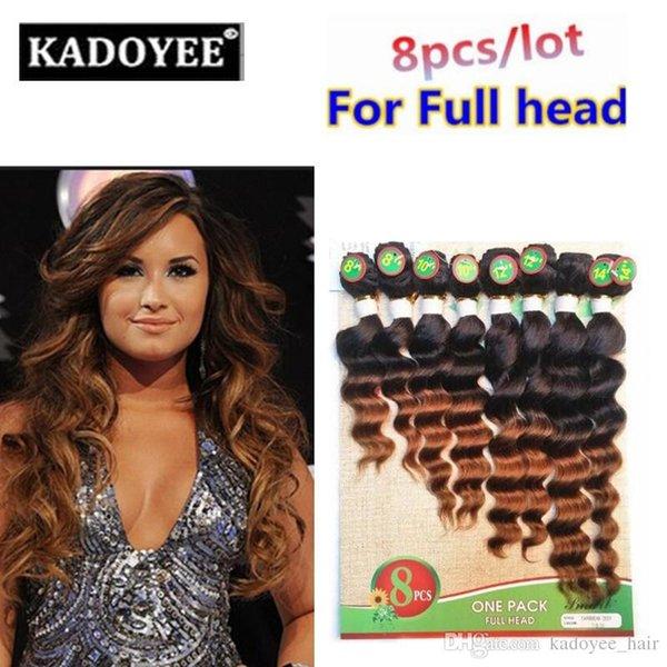 8 pcs / lot vague lâche extension brésilienne de cheveux vierges ombre couleur naturelle brésilienne de paquets de cheveux vierges gratuite