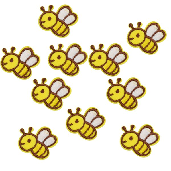 10PCS yellow bee embroidery patches for clothing iron patch for clothes applique sewing accessories stickers badge on cloth iron on patch
