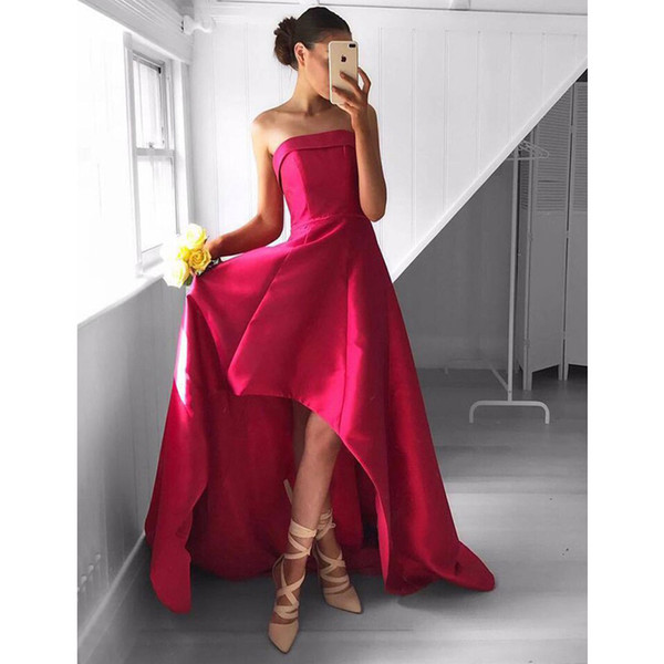 Chic Strapless High-Low Rose Red Prom Dress Ruched Charming Sexy Homecoming Dress Formal Dress for Teens Junior Party Gowns