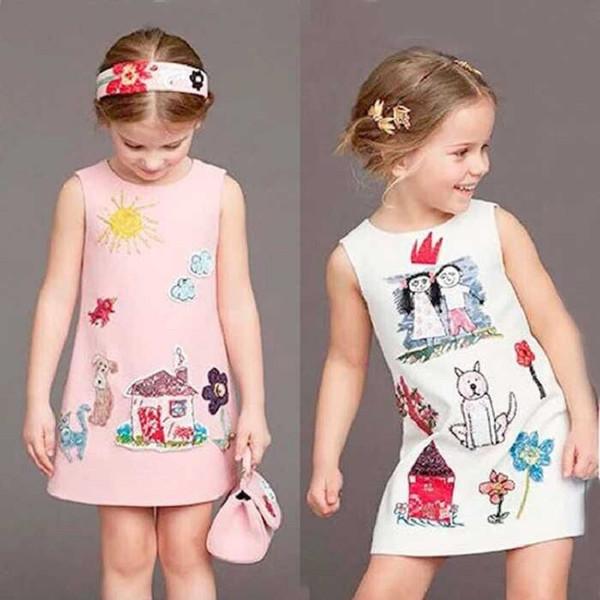 a10ad89c1799c 2019 Cute Cartoon Baby Girls Beads Dog Dress Princess Costume 2016 Brand  Kids Clothes Girls Dresses Scrawl Print Kids Vest Sundress From Daisy510,  ...