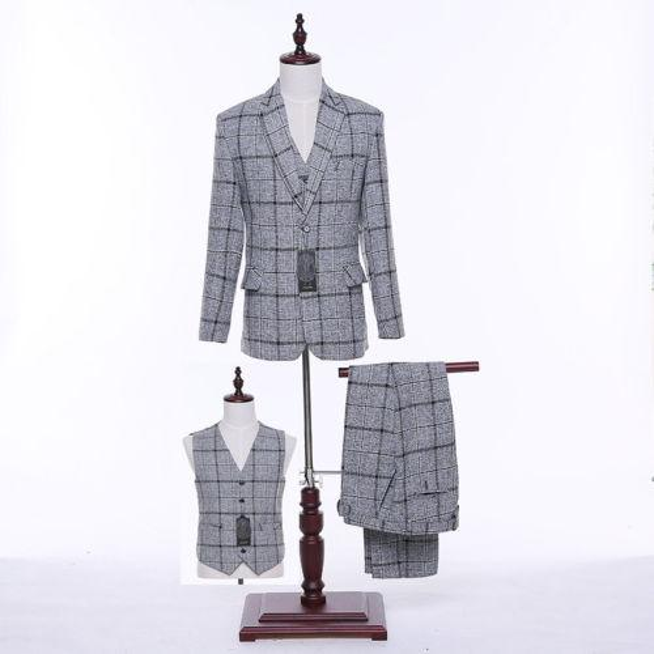 Light Gray Plaid Pattern Men Wedding Suits Groom Tuxedos Formal Business Suits (jacket + pants + vest) custom made