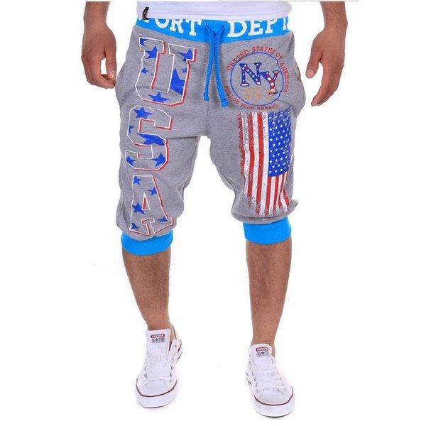 Großhandels-Sommer-Kleid-Buchstabe-USA-Flagge druckte Basketballkurzschlüsse Männer, die Kurzschlüsse Knie-Längen-beiläufiges moletom masculino laufen