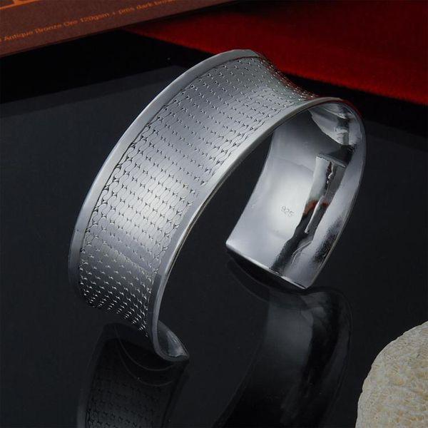 Factory direct wholesale 925 Sterling Silver Bangle Bracelet smooth concave coarse grid fashion silver bracelet