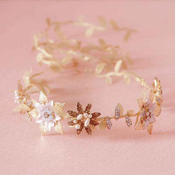 Gold Leaves Bridal Tiaras For Wedding Hair Accessories Wedding Headpiece Flowers Jewelry For Hair Headband Bendable Forehead Jewelry Crystal
