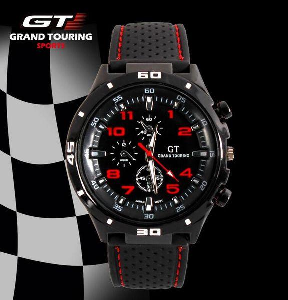 DHL nuevo Hombres Reloj deportivo Grand Touring GT Marca de lujo Correa de silicona Reloj de pulsera de cuarzo Movimiento Relojes militares