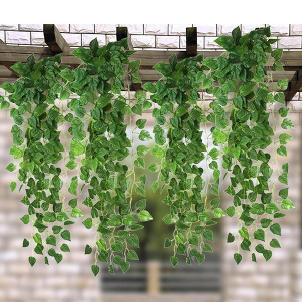 50pcs 1.7M Long Green Artificial Ivy Vine Leaves Garland Plants Rattan Fake Foliage Home Wedding Party Decoration 2 Styles