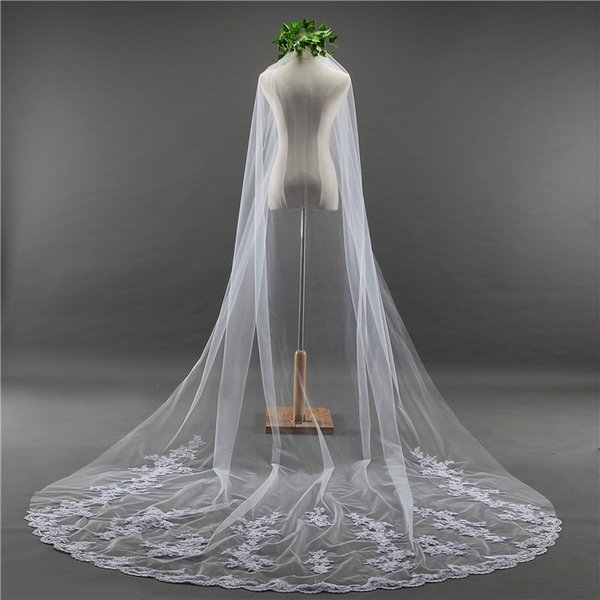 Free shipping Long tail wedding bridal church ceremony with comb chapel length white one layer nice veil cover