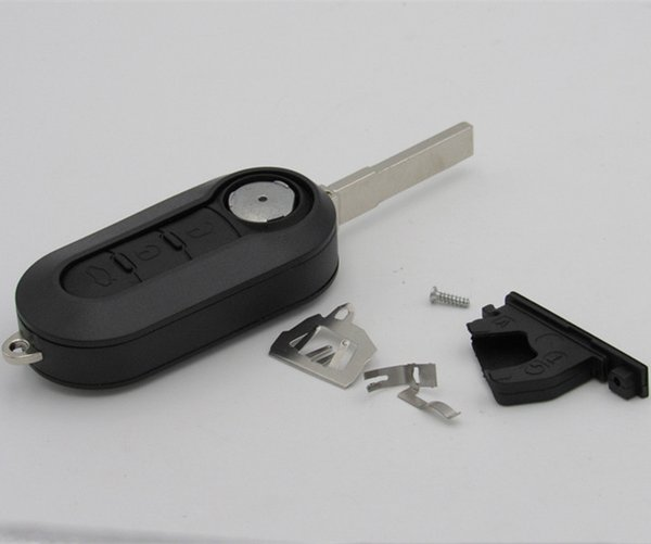 Car Key Key Fob 3 Botones Flip Folding Key Key Case Cubierta en blanco Ajuste para Fiat 500 Panda Punto Bravo con contacto de batería