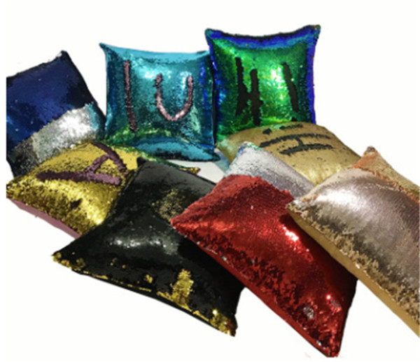 top popular Two-color Sequins Pillow Case Mermaid Pillow Covers Home Sofa Car Decor Cushion 31 Style Free Shipping 40*40cm 2019