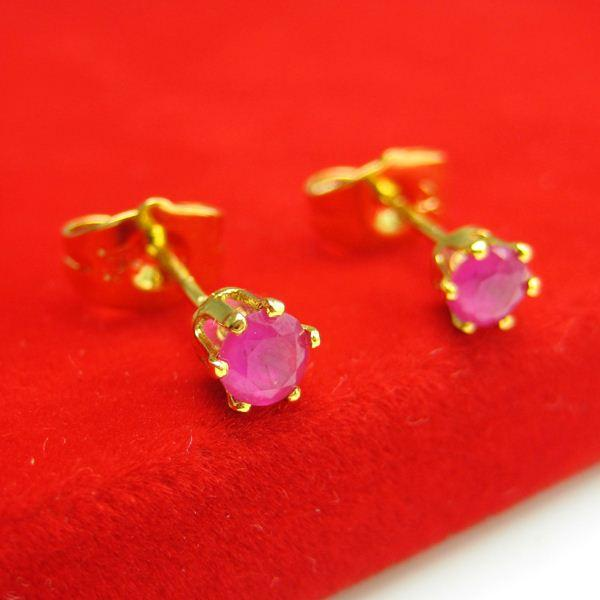 Do not fade gold earrings Mens gold-plated earrings 999 thousand character single crystal jewelry fashion trendsetter red