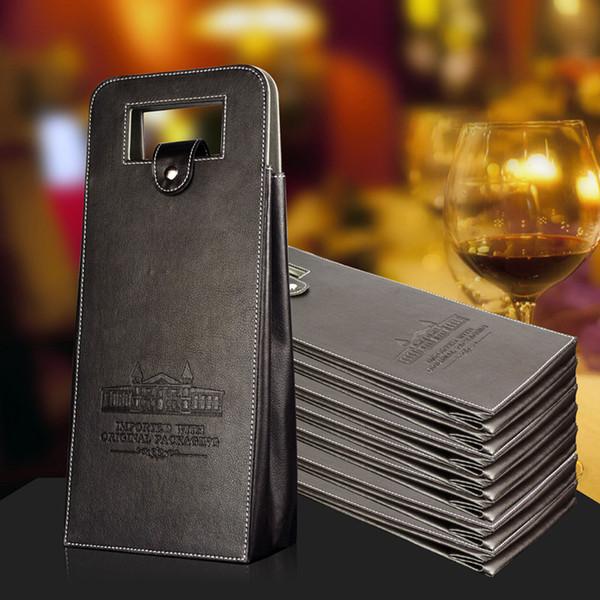 Caja de cuero para vino Plegable Bolsa de vino rojo para almacenamiento portátil de regalo Bolsos de empaque Festival Suministros 17 9bf C R