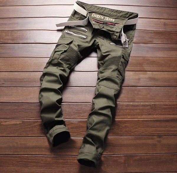 top popular New Army Green Bike Jeans Men's Fashion Pleated Stretch Denim Skinny Jeans Zipper Decoration Slim Patchwork Pants Long Trousers #004 2019