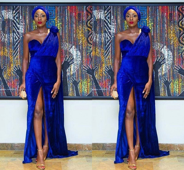 Nigeria Model Piece Blue Velvet Mermaid To long Legs Open Fork And Sexy Arabic Special Prom Dress