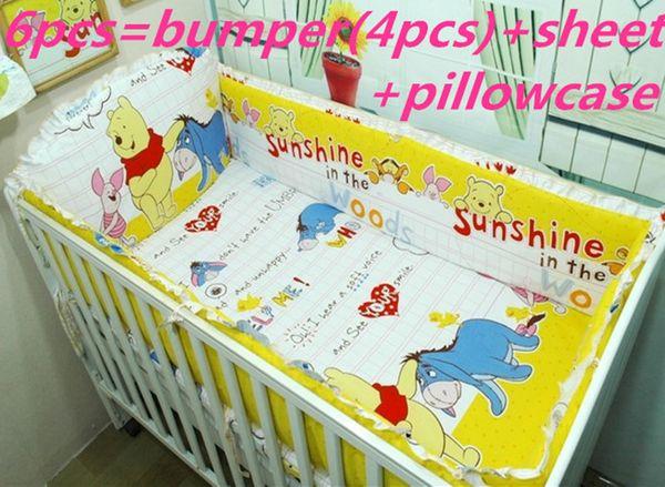 Promotion! 6PCS Baby Cot Bedding Sets Crib,Children Bedding Set,Crib Bedding (bumpers+sheet+pillow cover)