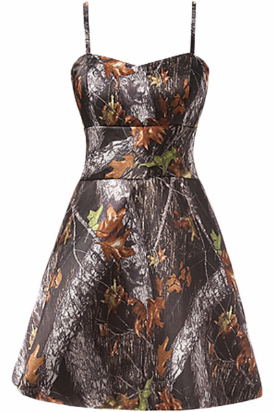 Free Shipping Straps Short Camo Prom Dresses 2016 New Styl Custom Make Size 0 or Plus Sizes Evening Bridesmaid Gowns