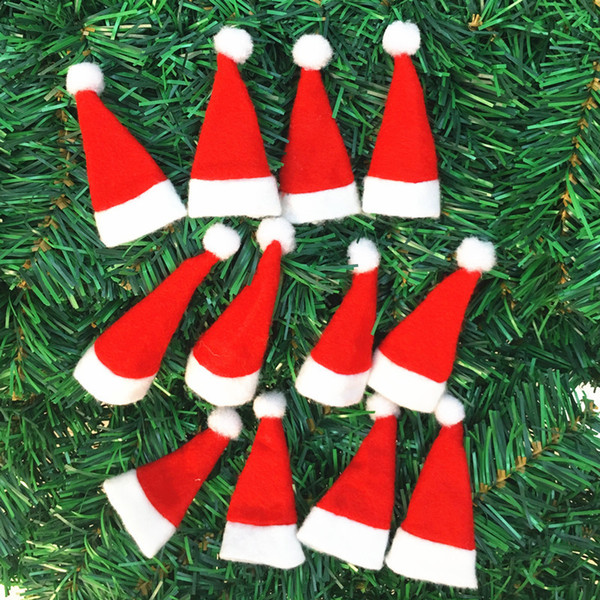 hot sale santa claus christmas mini hat indoor decorations ornaments xmas craft supply party favor navidad - Christmas Indoor Decorations Sale