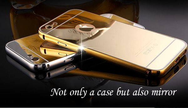 """Gold Plating Case For iPhone 7 Aluminum Metal Bumper Frame With Mirror Acrylic Back Cover For iPhone7 4.7"""""""
