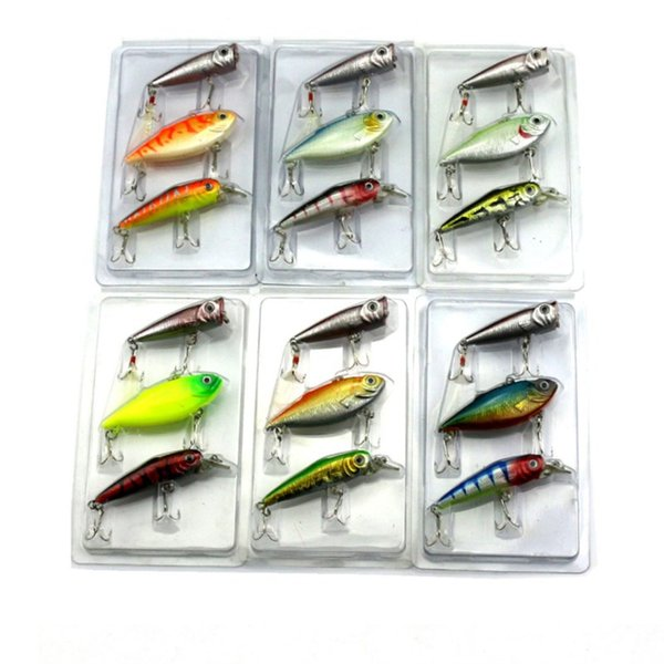 3PCS Mixed Minnow Baits Suits VIB Rattlin Fishing Lure Popper Fishing Baits 29g Plastic Lifelike Hard Baits for Saltwater