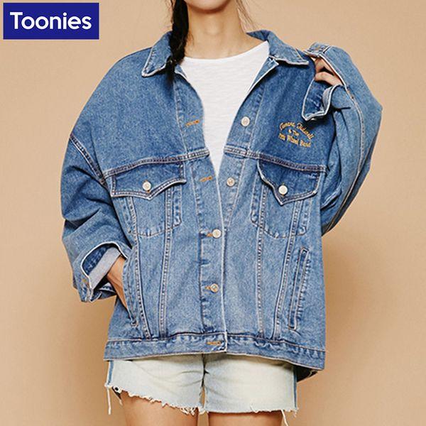 Wholesale- Denim Jackets Autumn 2017 Jean Jacket For Women Batwing Sleeve  Design Long Sleeve Coats