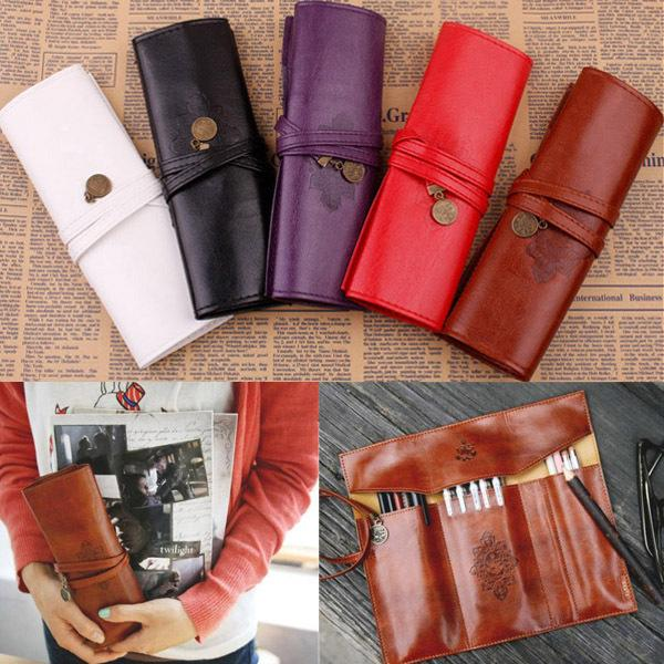 Wholesale-1 PCS New Retro Style Roll PU Leather Purse Pouch Makeup Pen Pencil Case Cosmetic Bag