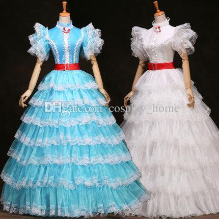 Customized 2015 Sweet White/Blue Short Sleeve fairy tale European court dress for Women
