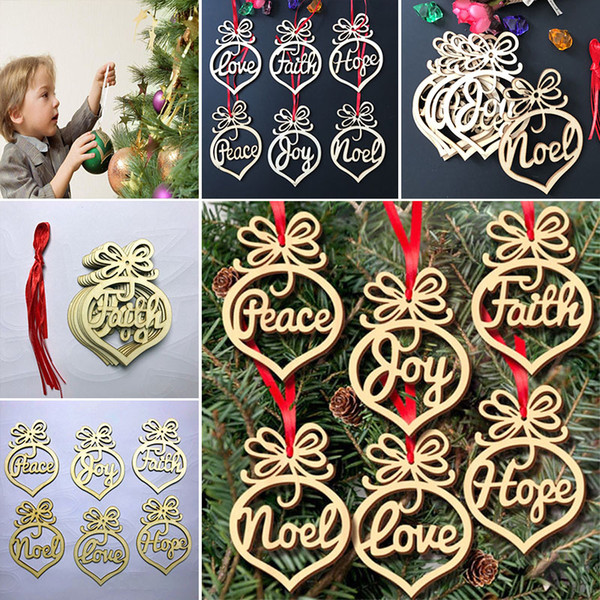 6 pieces/Lot Christmas Tree Ornaments Wood Chip Heart Bubble Pattern Hanging Pendant Xmas Home Festival Party Decoration Gift WX9-124