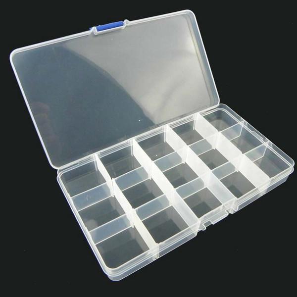 500 unids 15 Rejillas Transparente Ranuras Ajustables Joyas Organizador de Perlas Caja de almacenamiento Caja de almacenamiento de joyas de plástico Por DHL