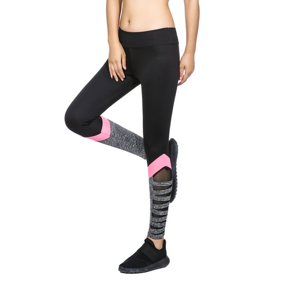best selling Women Fitness Legging High Waist Cutout Leggings New Arrival New Styles Black Color With Side Pink Splice Mesh