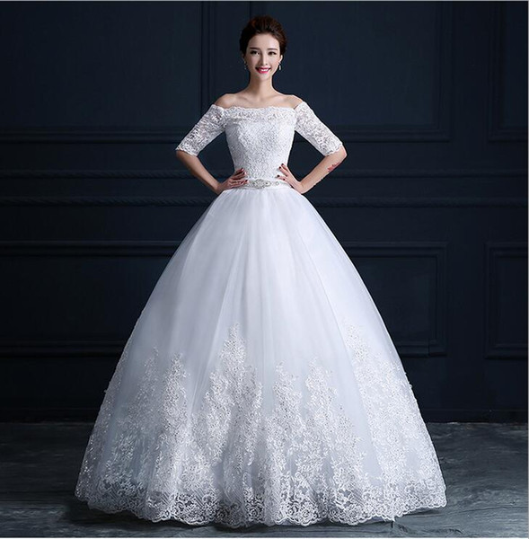 Bridal veil wedding dress Bateauty princess off shoulder Wedding Dresses Bridal Gowns with Sash Bow Sweep Train free shipping BD05