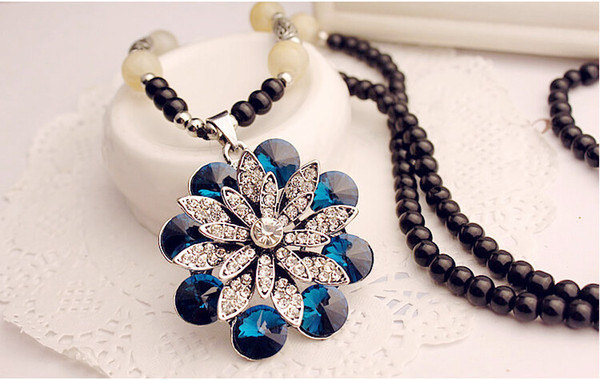 Fashion Jewelry Quality Opal Crystal Sweater Chain Beads Chain Eye-catching Pendant Necklace Compatible with Pandora Jewelry