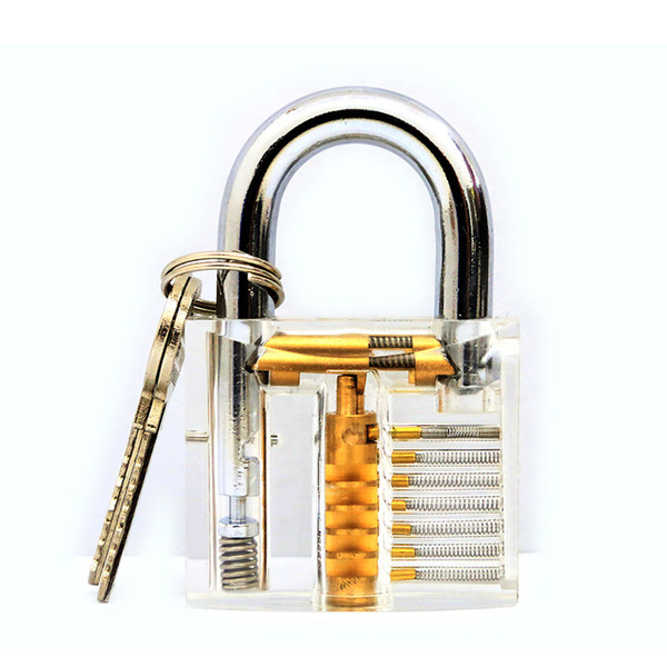 Hot Sale Lockmaster 7 pins Transparent Cutaway Practice Clear Acrylic Lock Padlock with Locker Master Key for lockpicking practice tools