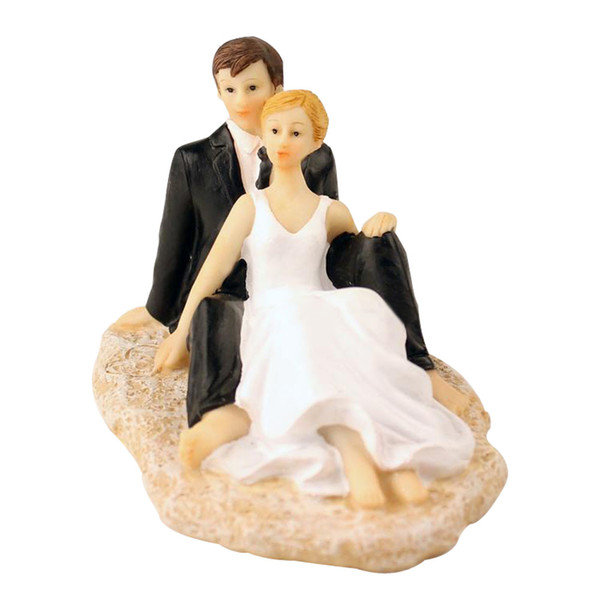 Wedding Cake Topper with Bride and Groom Couple Figurine Beach Couple Cake Decoration for Wedding Anniversary Party