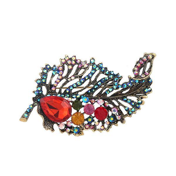 Colorido Strass Broche Pin Folha Broche De Cristal De Ouro Pin Broches para As Mulheres Presentes de Moda Jóias