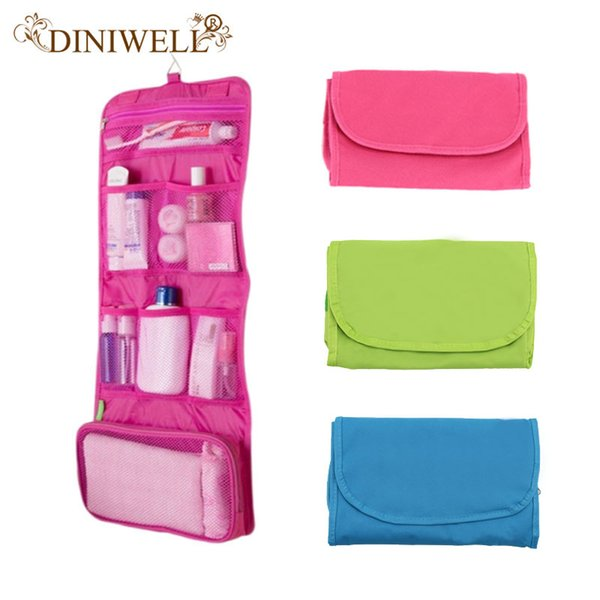 Wholesale- DINIWELL Womens Ladies Travel Toiletry Folding Hanging Wash Cosmetic Makeup Storage Bag Portable Organizer For Outdoor Camping