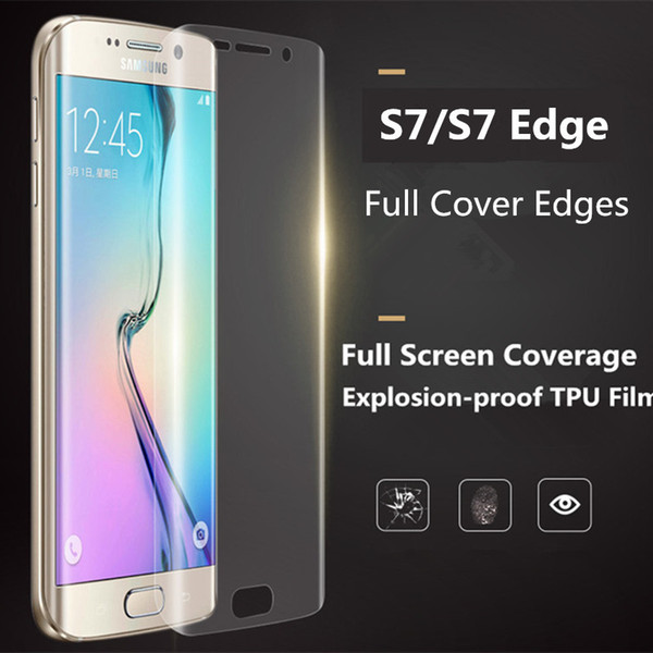 Full Cover Curved Displayschutzfolie für Galaxy S7 Rand 3D Abdeckung Soft TPU Clear Crystal Anti-Schock-Folie für Samsung S6 S7 Edge Plus
