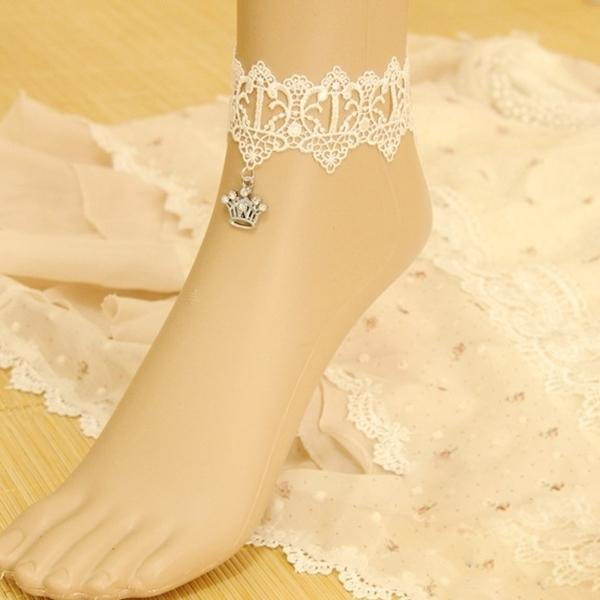 Chic Vintage Lace Crown Ankle Anklet Ladies Bridal Wedding Foot Bracelet Cosplay Stage Show Barefoot Sandals Fancy Dress Lolita
